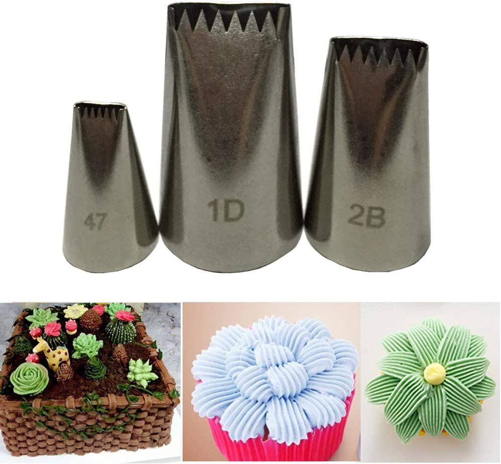 3pcs Pastry Tips Icing Piping Nozzles Ice Cream Tool Baking Mold Cake Decorating