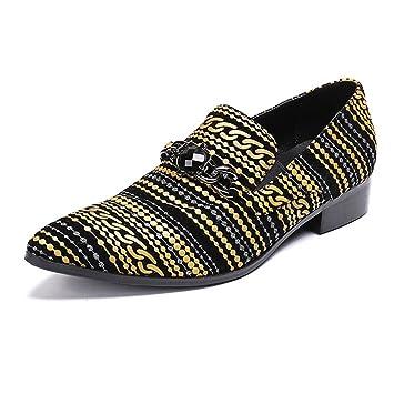 MSFS Terciopelo De Los Hombres Negocio Vestido Formal Mocasines De Fiesta Rayas Amarillas Zapatos De Boda Tamaño 38 A 46: Amazon.es: Deportes y aire libre