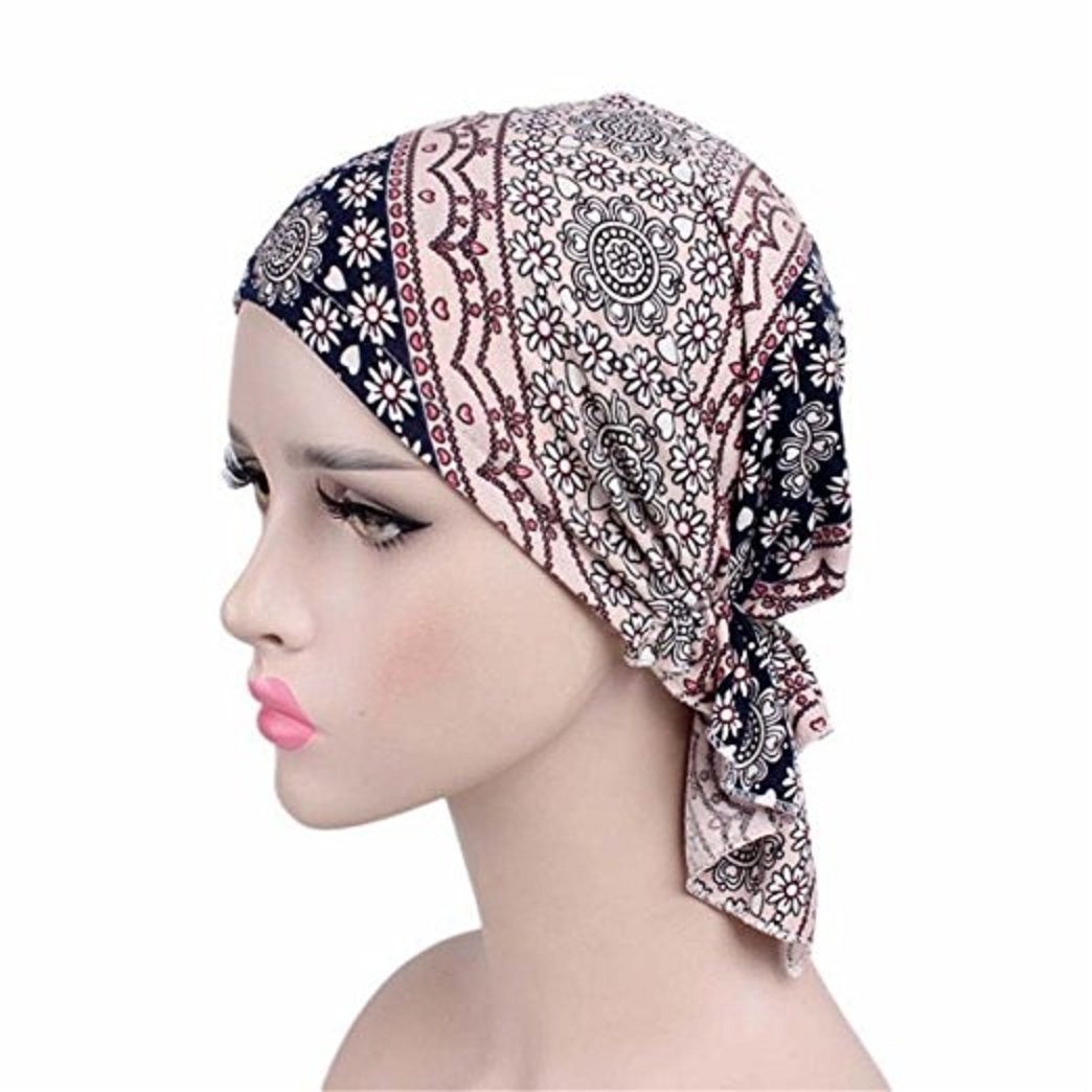 1d972481d96ad Samidy Women Cotton Bandana Scarf Pre Tied Chemo Hat Beanie Turban Headwear  For Cancer Patients Ladies Turbante (Black)  Amazon.co.uk  Beauty