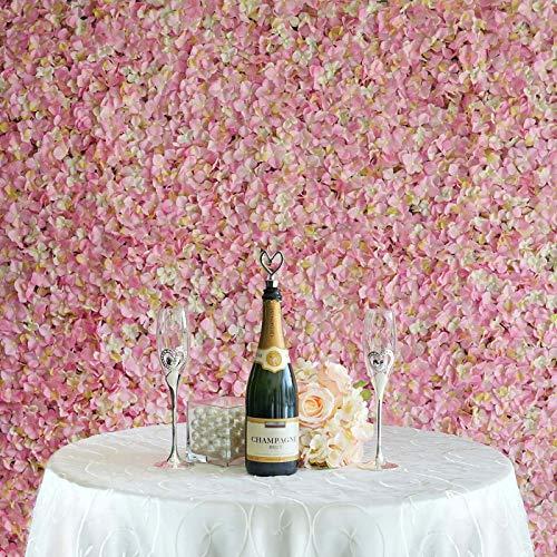 Efavormart 4 PCS Pink & Cream Silk Hydrangea Flower Mat Wall Wedding Event Decor for DIY Centerpiece Arrangement Party Decorations (Floral Wall)