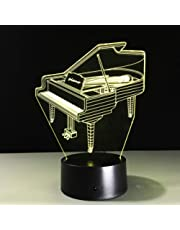 Illusion Lamp 3D Lamp Visual Light Effect Touch Switch Colors Changes Night Light (Piano)