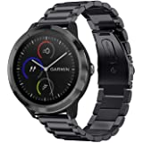 Fintie Bands Compatible with Garmin Vivoactive 3 Music/Forerunner 245, 20mm Quick Release Stainless Steel Metal Replacement Wrist Strap Compatible with Vivomove HR/Forerunner 645 Smartwatch, Black