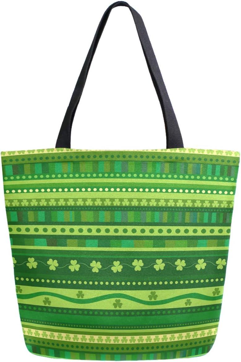 ZzWwR Stylish St. Patrick's Day Shamrock Stripes Extra Large Canvas Market Beach Travel Reusable Grocery Shopping Tote Bag Portable Storage HandBags