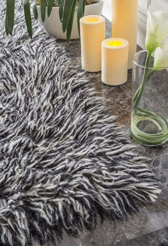 Hand Woven Flokati Shag New Zealand Wool Salt N Pepper Shag Area Rugs, 5 Feet by 7 Feet (5' x 7') Hand Woven Wool Shag Rug