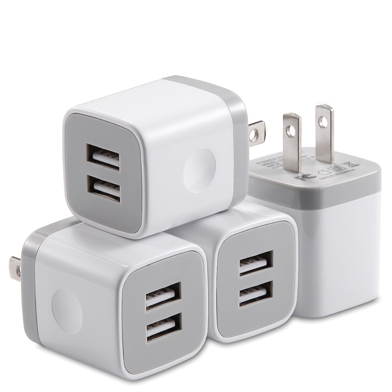 X-EDITION USB Wall Charger,4-Pack 2.1A Dual Port USB Cube Power Adapter Wall Charger Plug Charging Block Cube for Phone 8/7/6 Plus/X, Pad, Samsung Galaxy S5 S6 S7 Edge,LG, ZTE, HTC, Android (White)