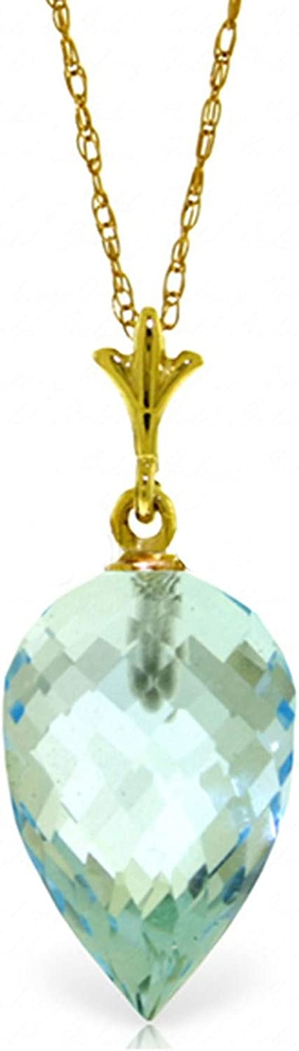 ALARRI 11.25 Carat 14K Solid Gold Necklace Pointy Briolette Drop Blue Topaz with 24 Inch Chain Length