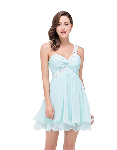 Babyonline Ladies Mint Green One Shoulder Homecoming Dress Short ...