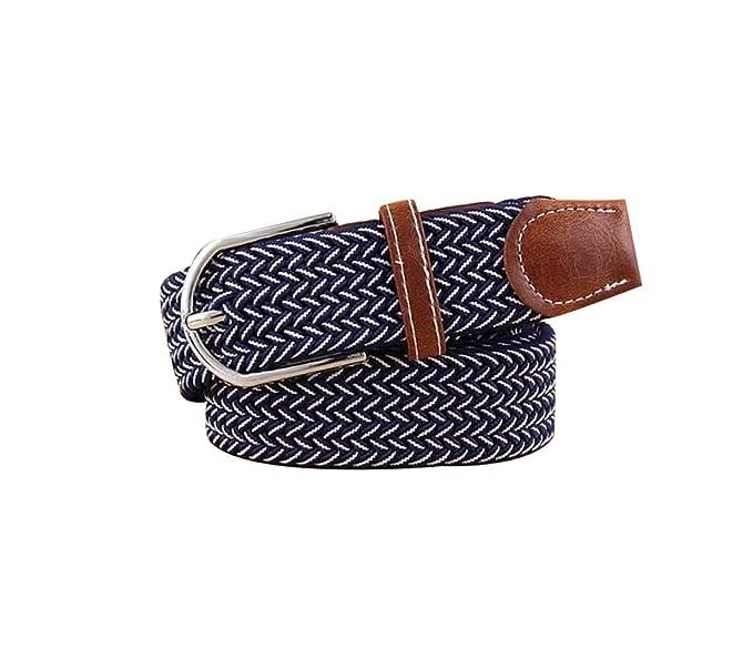 Irypulse Cinturón Trenzado elástica de Lona Hombres Mujeres Cuero de PU  Hebilla de aleación Hecha elásticos 15642cfaacc8