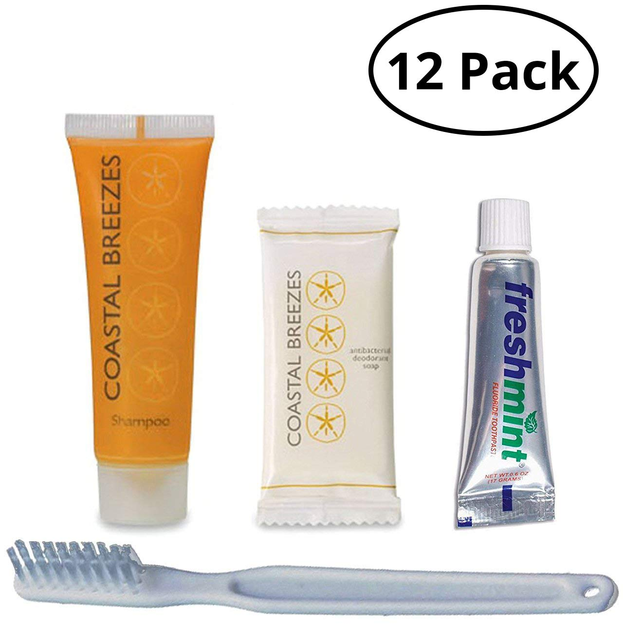 Kind Mind Travel Size Hygiene and Toiletry Kit Bulk Pack 12 Kits| Soap | Shampoo | Toothbrush| Toothpaste