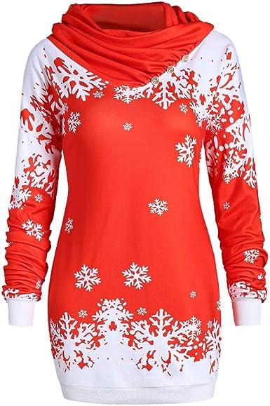 K-youth Blusa Mujer Invierno Cuello de Bufanda Copo de Nieve Navidad Suéter Sudaderas Mujer Tumblr Largas Camisetas de Manga Larga para Mujer Jerséis: Amazon.es: Ropa y accesorios