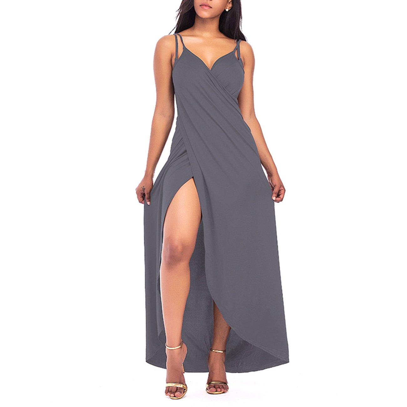 PROMLINK Women's Spaghetti Strap High Slit Backless Bikini Cover Up Beach Dresses