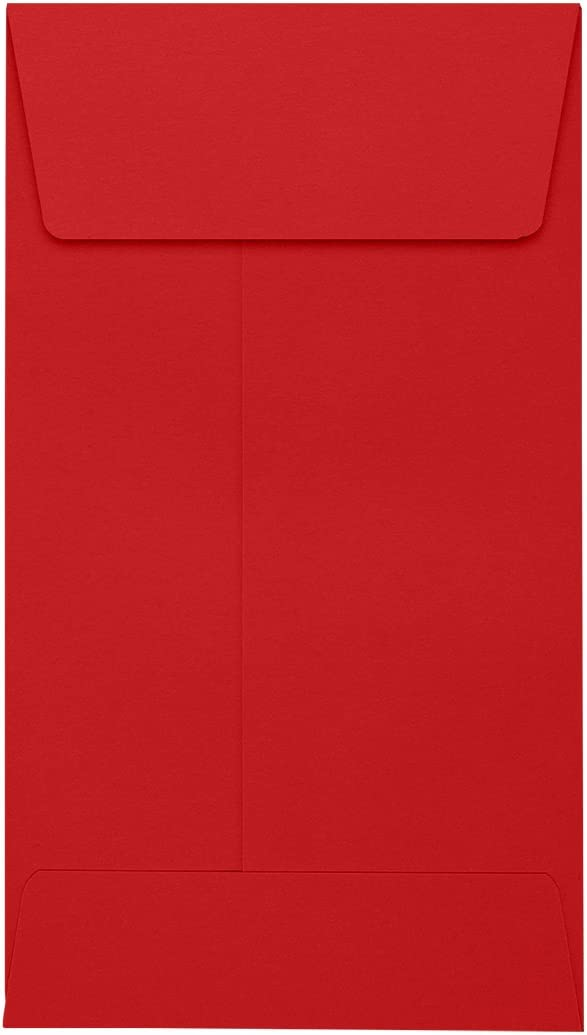 3 1//8 x 5 1//2 | Perfect for Storing Small Parts LUX-512CO-18-50 Small Electronic Parts and so Much More! Jewelry - Ruby Red 50 Qty. Coins #5 1//2 Coin Envelopes Seeds Stamps
