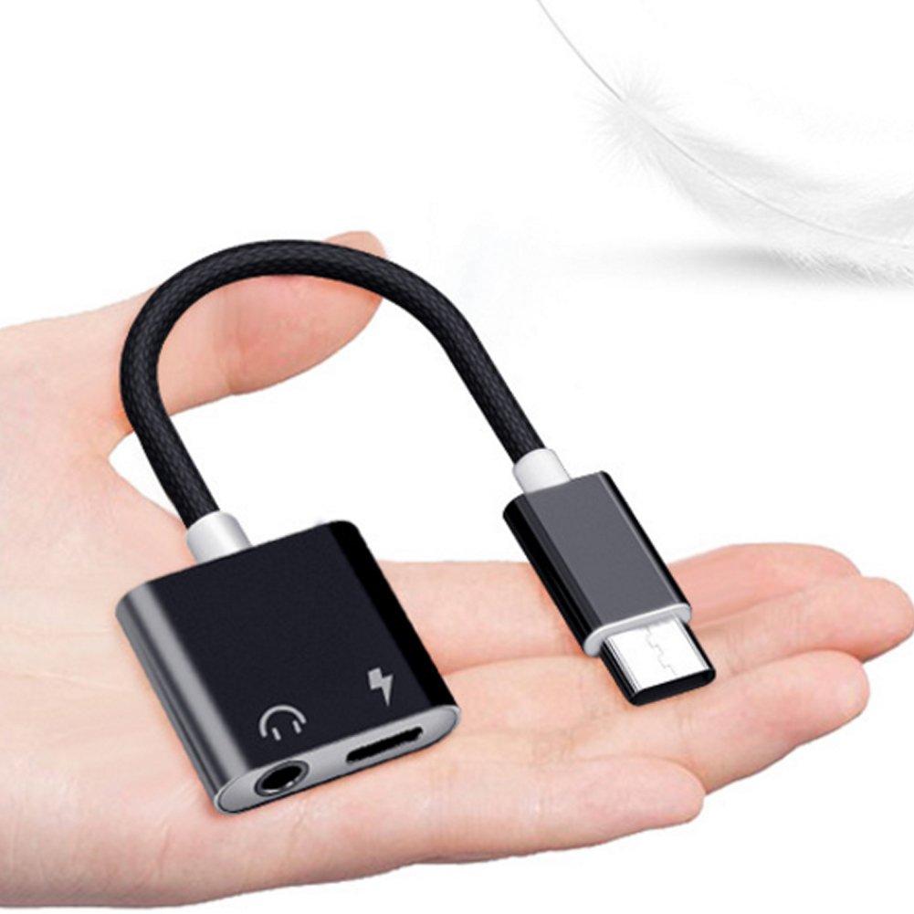 NiceButy Adaptador Casco Type C a Mini-Jack 3.5/mm 3.5/mm Adaptador Audio Adaptador Casco Casco Cargador Adaptador Audio tel/éfono