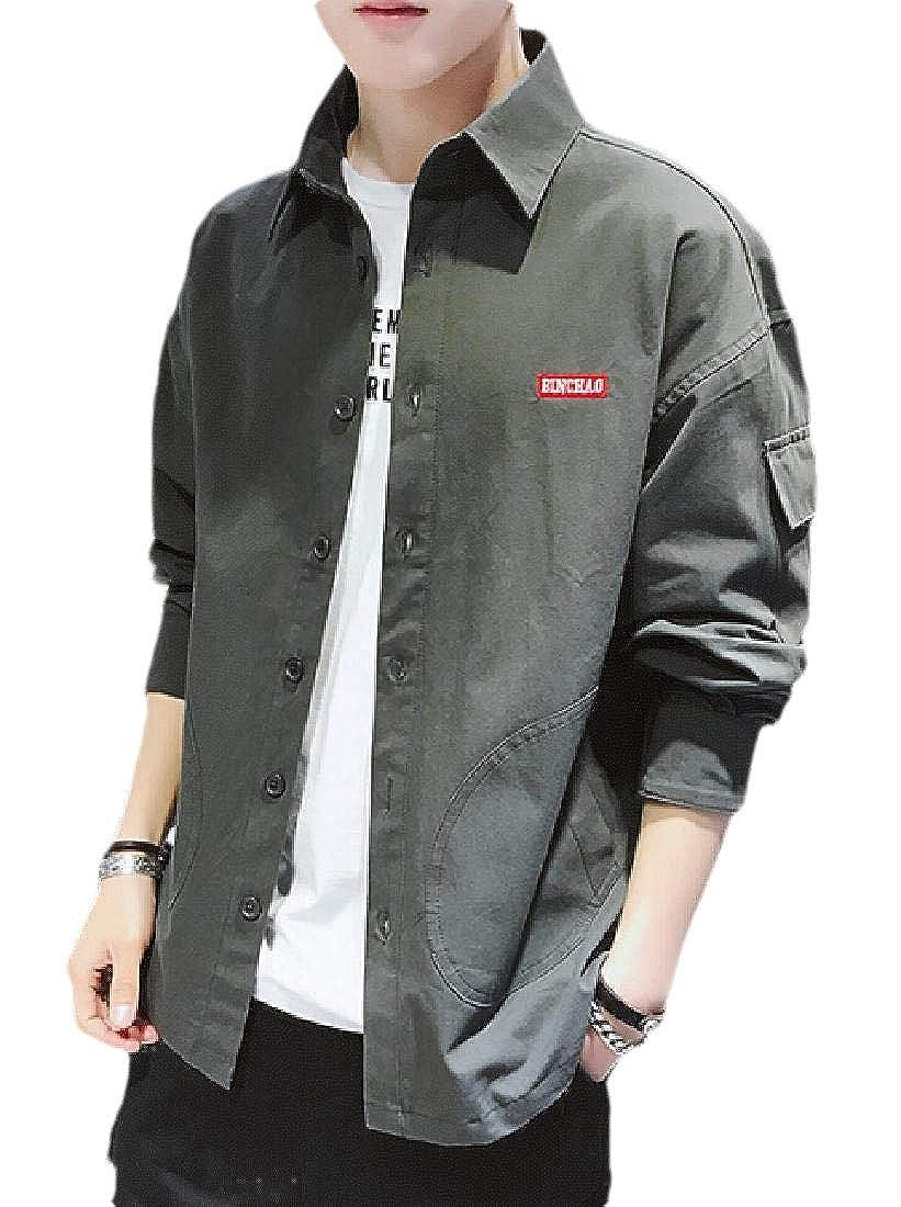 WSPLYSPJY Men Button Down Shirt Long Sleeve Cargo Work Shirt