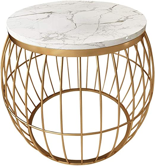 KUKU-mesas de centro Round Lantern White Marble Side Table/Corner ...