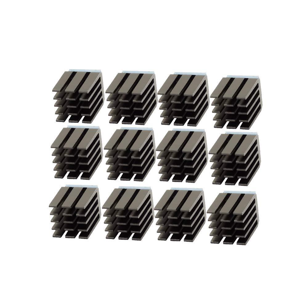 3D Printer Accessories and Parts, FYSETC Stepper Motor Driver Heat Sink Aluminum Heatsinks Cooling Fin Drivers Ultra-Silent for TMC2100 A4988 DRV8825 TMC2208 TMC2130 Motor Driver - 12 Pcs, Black Fuyuansheng