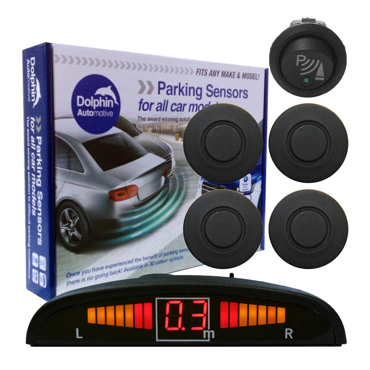 Dolphin DPS450F Front Parking Sensors In 32 Colours 4 Ultrasonic Radar Sensors Kit Audio /& Display Alert System Matt /& Gloss Black Maroon 30 More Colours