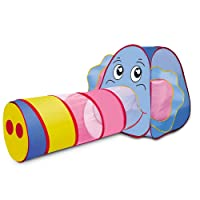 Play Tent Kids ,Sonyabecca Childrens Kids tent indoor or outdoor Pop Up Play Tent and Tunnel Set Elephant Game House Tent Large Children Toy Tent Baby Kids Crawling Play Tent perfect gift for kids (Elephant)(Size:98''x33'')