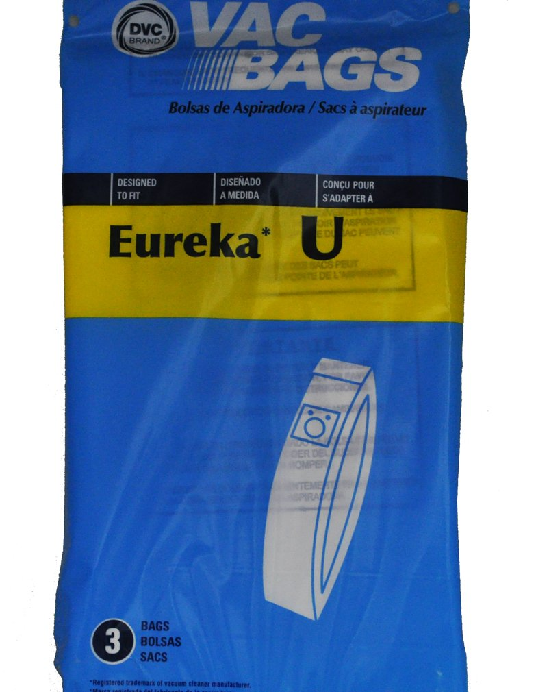 Eureka Style U Upright Vacuum Cleaner Bags, DVC Replacement Brand, designed to fit Eureka Bravo 9000 Series and White Westinghouse Models using Bag Style VIP 2030, 3 bags in pack
