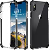 Comsoon iPhone X Case, [Supports Wireless Charging] Transparent Slim Soft TPU Bumper Protective Cover with TPE Corner Drop Cushion & Reinforced Frame for iPhone X / iPhone 10 Edition- Clear&Black