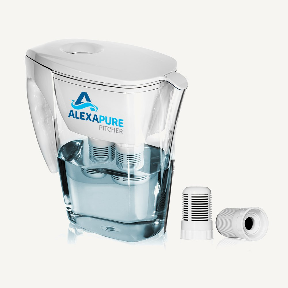 Alexapure Pitcher Water Filtration System, Reduces up to 92 Contaminants, BPA-Free 8-Cup Reservoir