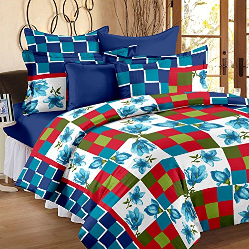 Story @ Home 144 TC 100% Cotton Blue 1 Double Bedsheet With 2 Pillow Cover