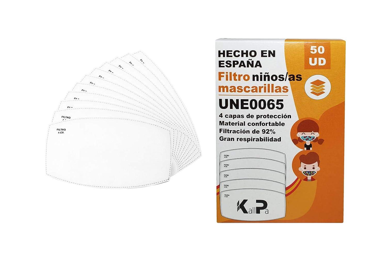 Filtros para mascarillas de niños pack de 50 unidades - filtros para mascarillas infantiles - 92% de filtración - 4 capas de protección