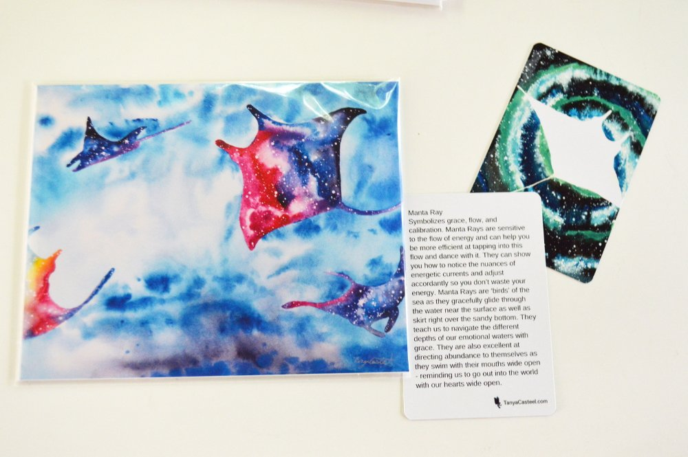 Amazon.com: Rainbow Manta Ray Galaxy Spirit Animal Art Print from Watercolor Painting: Handmade