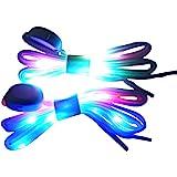 DINUOSEN LED White Shoelaces Light Up Shoe laces 3 Modes 7 Colors flashing Shoestrings