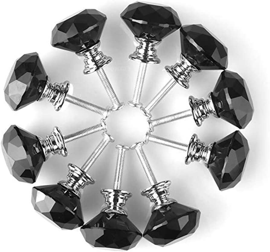 eoocvt 10pcs Glass Crystal Diamond Drawer Knobs Pull Door Knobs Handle Drawer Kitchen + Screws, for Home Office Cabinet Cupboard (Black)