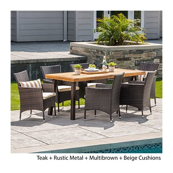 Christopher Knight Home Randy | Outdoor 7-Piece Acacia Wood and Wicker Dining Set with Cushions | Teak Finish | in Multibrown/Beige, Rustic Metal - The beautiful blend of wood and wicker comes to life with this dining Set, complete with six wicker dining chairs and one wooden table, you can enjoy eating in your backyard whenever you want, The wooden table is treated to withstand even the harshest of seasons, ensuring your Set looks great all year long, This set also comes with the added benefit of cushions for your seats, giving you the perfect color contrast Includes: one (1) table and six (6) chairs Table material: Acacia wood | table leg Material iron | chair Material: faux wicker | chair frame material: iron | Cushion material: Water resistant fabric | Composition: 100 percent polyester | table top finish: teak | table leg Finish: rustic metal | wicker finish:  | Cushion color: Beige - patio-furniture, dining-sets-patio-funiture, patio - 61QoOHahT2L. SS570  -