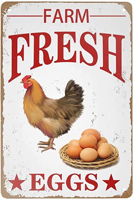 Amazon Com Angeloken Retro Metal Tin Sign Vintage Farm Fresh Eggs Aluminum Sign For Home Coffee Wall Decor 8x12 Inch Home Kitchen