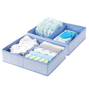 Gray Set of 8 mDesign Soft Fabric Dresser Drawer and Closet Storage Organizer for Child//Kids Room Herringbone Print Divided 2 Compartment Organizer Nursery