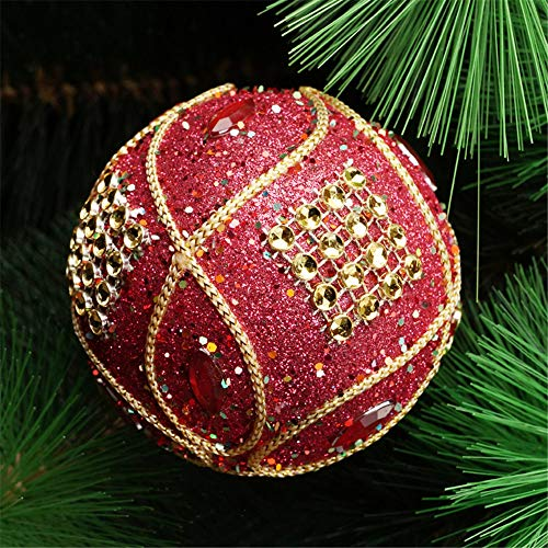 Christmas Ball Ornaments Decoration Christmas Rhinestone Glitter Baubles Balls Xmas Tree Ornament Decoration (8cm in Diameter) (Red) by TLT Retail (Image #1)