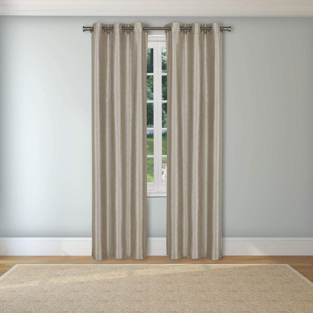 Set of 2 Panels Home Maison 38 X 84 Inch - Taupe Assorted Colors Kurt Faux Silk Grommet Top Window Curtains for Living Room /& Bedroom