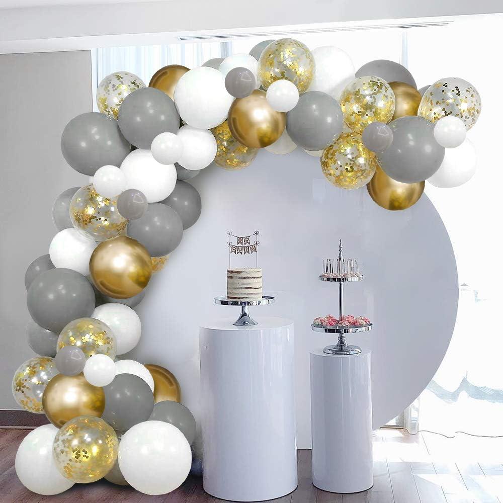 Arco De Globos Dorados Blancos Grises Skyiol Kit Guirnaldas 100 Helio Confeti Metalizados Látex Globos Con 5m Arco Puntos Adhesivos Para Niña Cumpleaños Boda Comunion Baby Shower Fiesta Decoración Decoración Para Fiestas