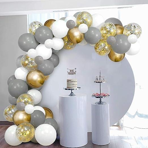 Skyiol Ballongirlande Set Grau Weiß Gold Diy Luftballon Girlande Dekoset Mit 100 Helium Konfetti Metallic Latex Ballons 5m Ballonbogen Klebepunkte Für Geburtstag Hochzeit Jubiläum Baby Shower Party Spielzeug