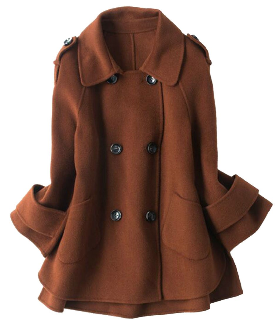 Alion Womens Pockets Korean Style Lapel Double-Breasted Woolen Overcoat 1 XXS by Alion