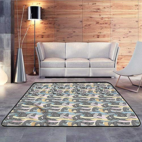 Small Rugs,Striped,Arch Shape Curvy PastelW 55