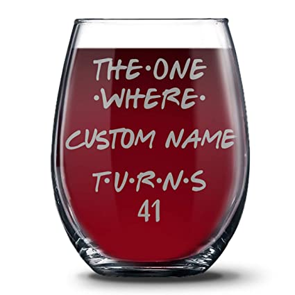 Personalized 41st Birthday 21 Oz Stemless Glasses For Women And Men Happy 41 Gift