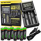 Nitecore D2 two slot smart battery Charger with LCD display For Li-ion, IMR, LiFePO4 26650 22650 18650 17670 18490 17500 18350 16340 RCR123 14500 10440 Ni-MH And Ni-Cd AA AAA AAAA C Rechargeable Batteries with 8 x EdisonBright Ni-MH rechargeable AA batteries bundle