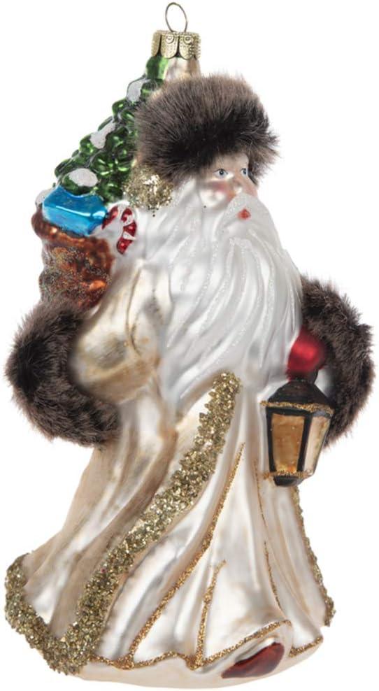 Robert Stanley Fur-Trimmed Gold Santa with Lantern Glass Ornament, Jolly Old Saint Nicholas, Christmas Around The World