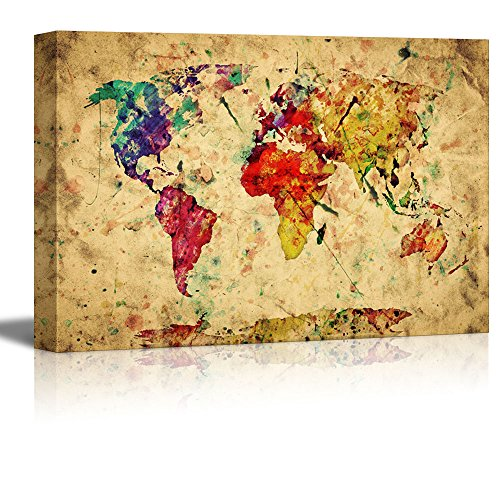 Vintage World Map Colorful Paint Watercolor Retro Style Expression on Grunge Old Paper Wall Decor ation