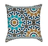Bonab Arabic Blue Mosaic Throw Pillow