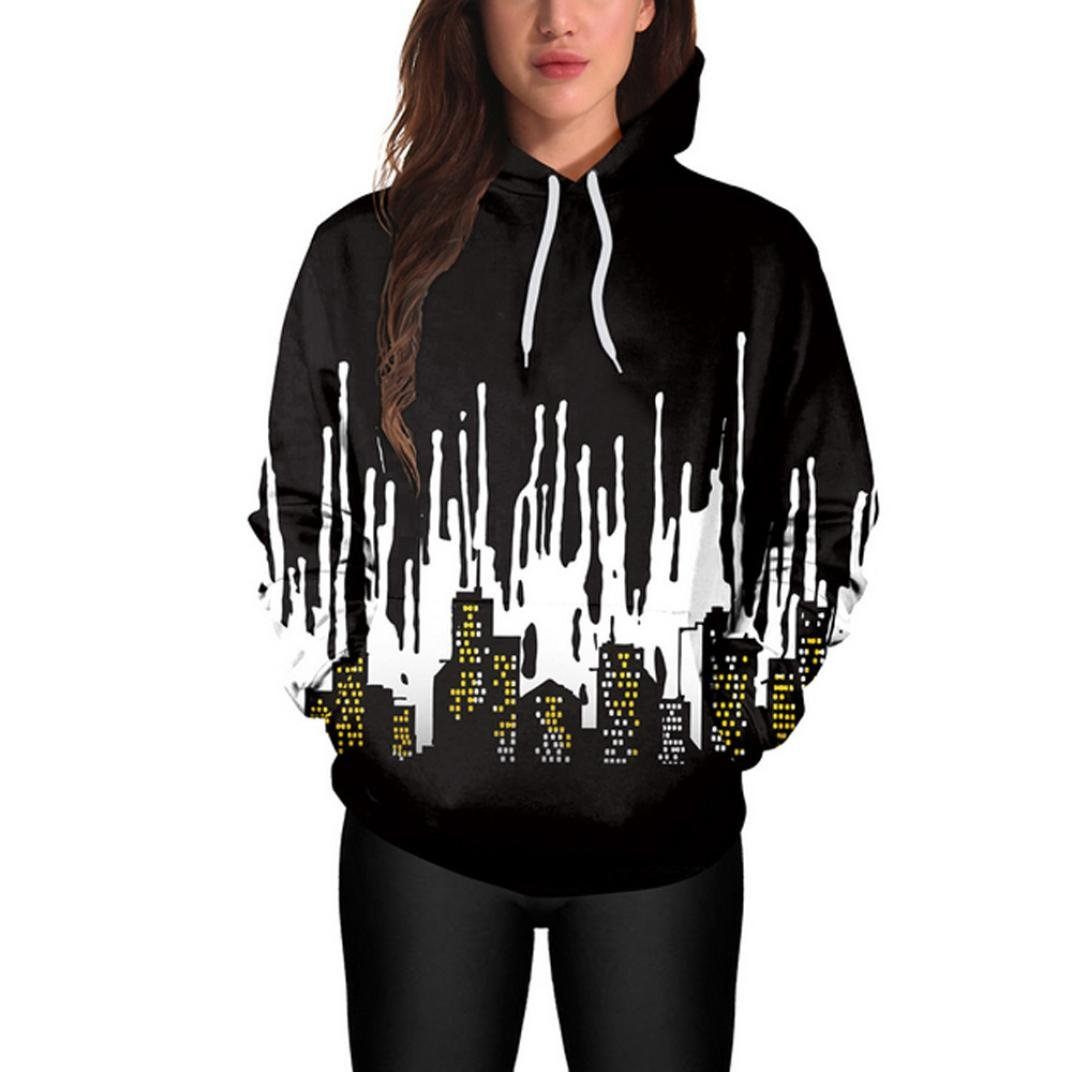 Halloween Hoodies Sweatshirt,ZYooh Women Long Sleeve 3D Graphic Printed Hooded Sweatshirt Pullover (XL, City) by iLH