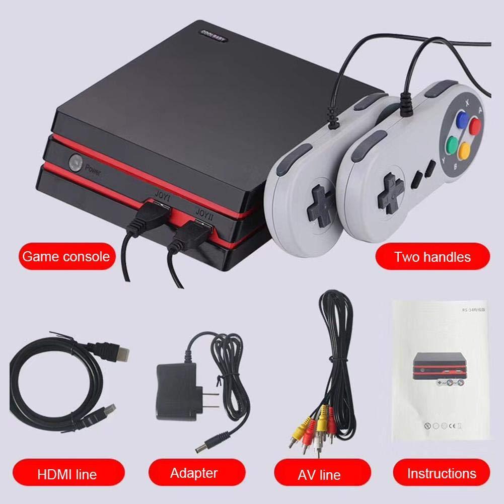 2018 HDMI/AV rétro console de jeu vidéo SD Arcade console de jeu vidéo extension de carte SD pour 5 supports de machine de jeu du simulateur moyen intégré à 300 jeux sortie HD (noir)