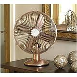 "New Stylish Metal Fan Copper Limitless 12"" Electrical Oscillating Fan Three Speed"