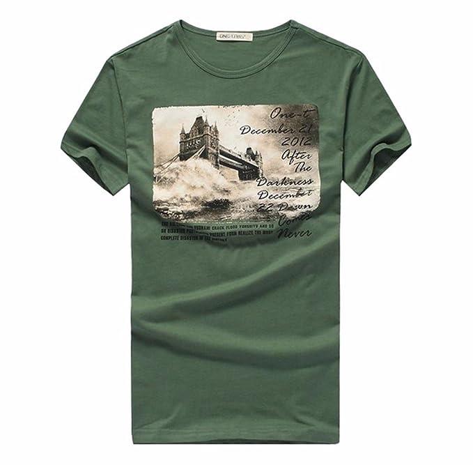 ADLFJGL Camisetas Puente De Londres Los Hombres De Verano De Manga Corta Camiseta De Algodón Estampado Cuello Redondo Camiseta De Los Hombres Delgados ...