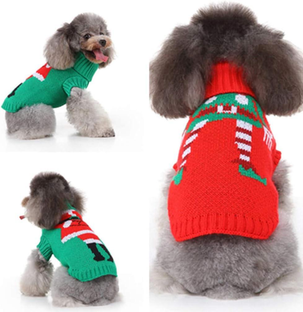 Amekon Perro Jersey de Navidad Suéter para Perros Rojo y Verde Suéter para Perros pequeños Prendas de Punto Jersey para Gatos Perros Mascotas Abrigo para Perros pequeños (L, Rojo): Amazon.es: Productos para