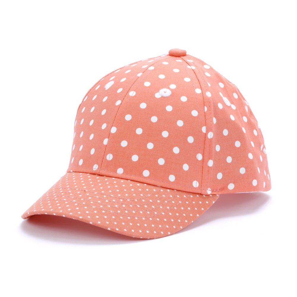 Peppercorn Kids Girls Fun Polka Dot Baseball Cap - Melon Orange - S (6-24 Mnths)